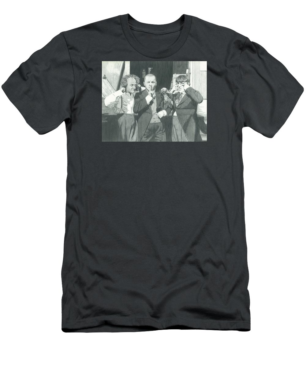 Celebrities Men's T-Shirt (Athletic Fit) featuring the drawing 3 Stooges And A Monkey by Dean Pratali