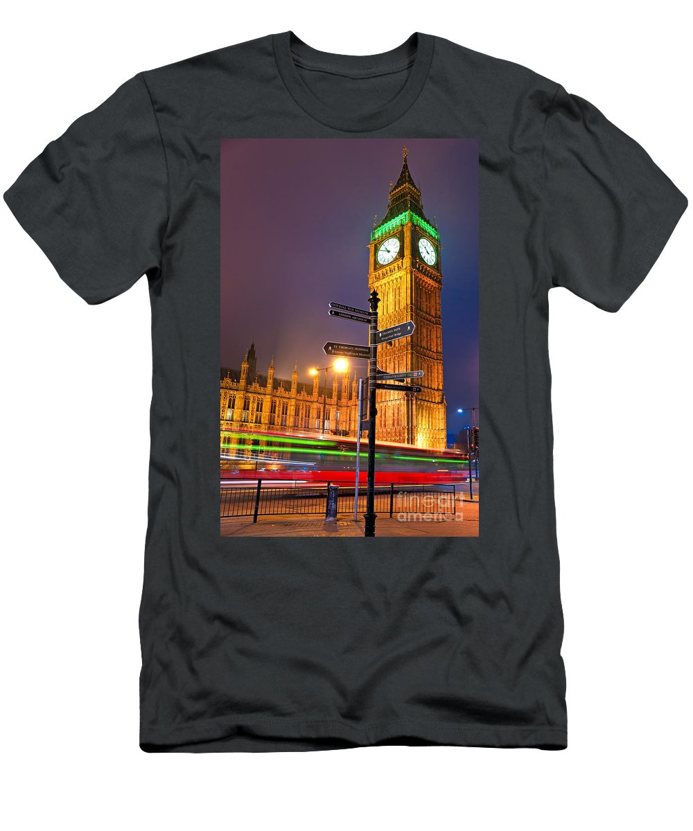 Architecture Men's T-Shirt (Athletic Fit) featuring the photograph The Big Ben - London by Luciano Mortula