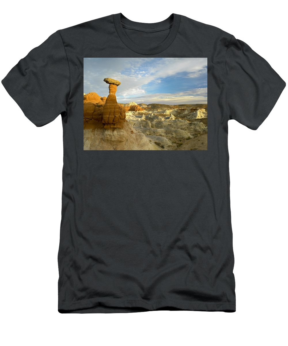 Feb0514 Men's T-Shirt (Athletic Fit) featuring the photograph Toadstool Caprocks Grand Staircase by Tim Fitzharris