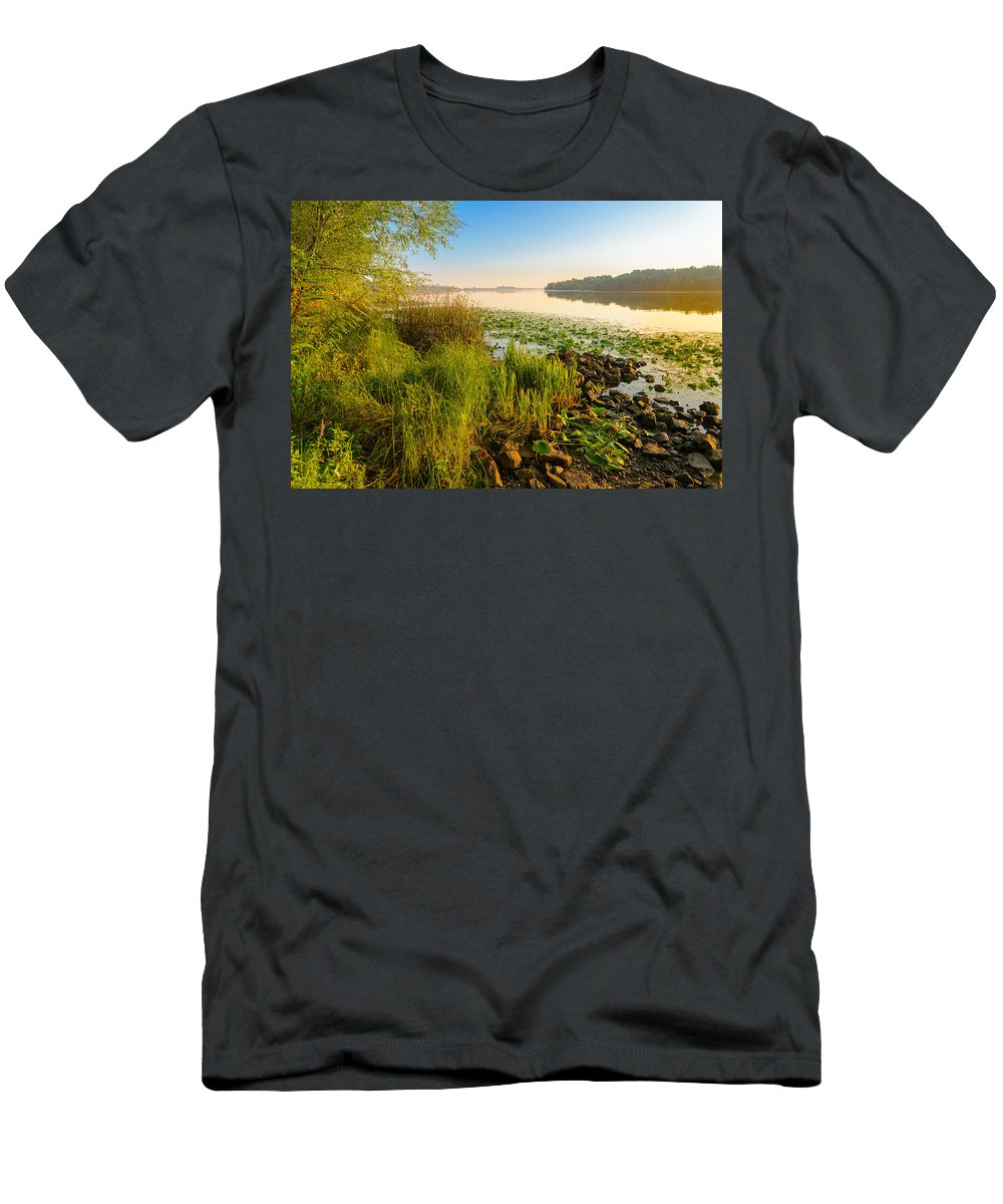 Dnieper Men's T-Shirt (Athletic Fit) featuring the photograph View Of The Dniper River At Morning by Alain De Maximy