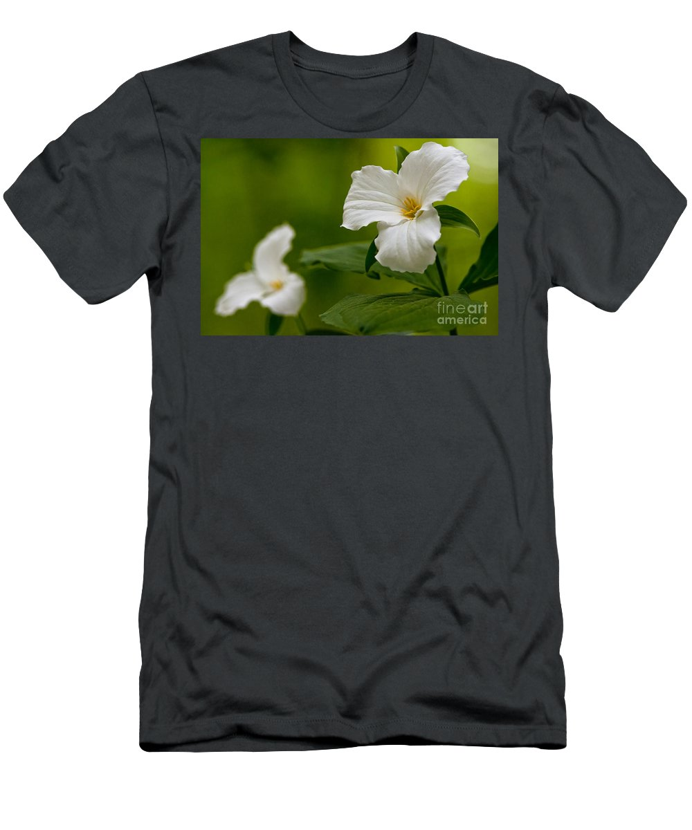 Michael Cummings Men's T-Shirt (Athletic Fit) featuring the photograph White Trillium - Trillium Grandiflorum by Michael Cummings