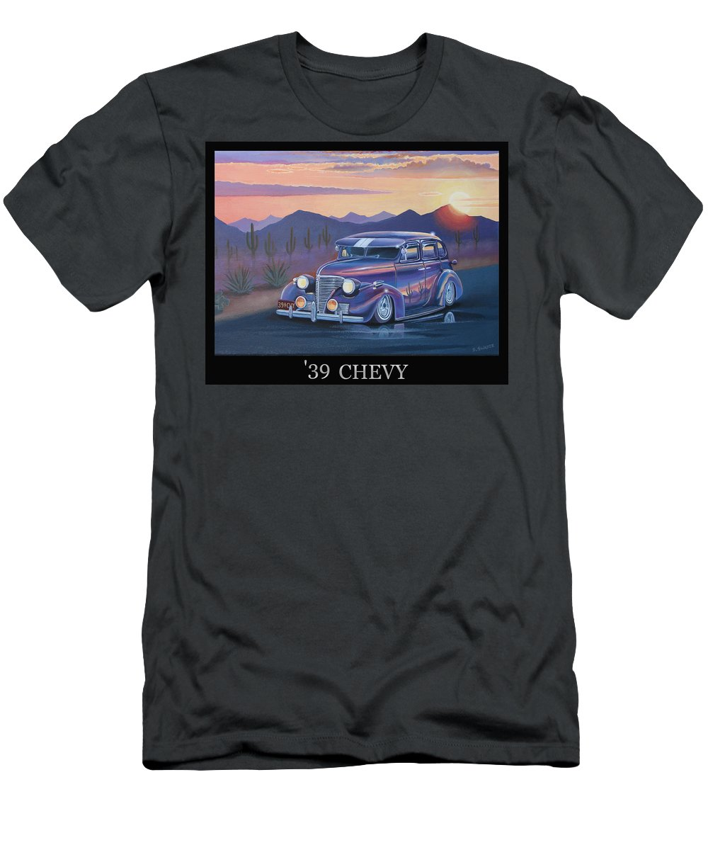 Automotive Men's T-Shirt (Athletic Fit) featuring the painting '39 Chevy by Stuart Swartz