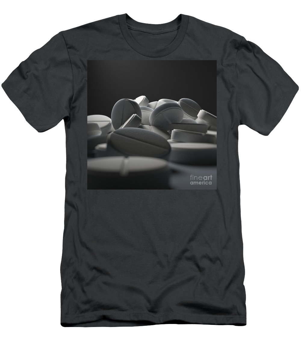 3d Visualisation Men's T-Shirt (Athletic Fit) featuring the photograph Aspirin Tablets by Science Picture Co