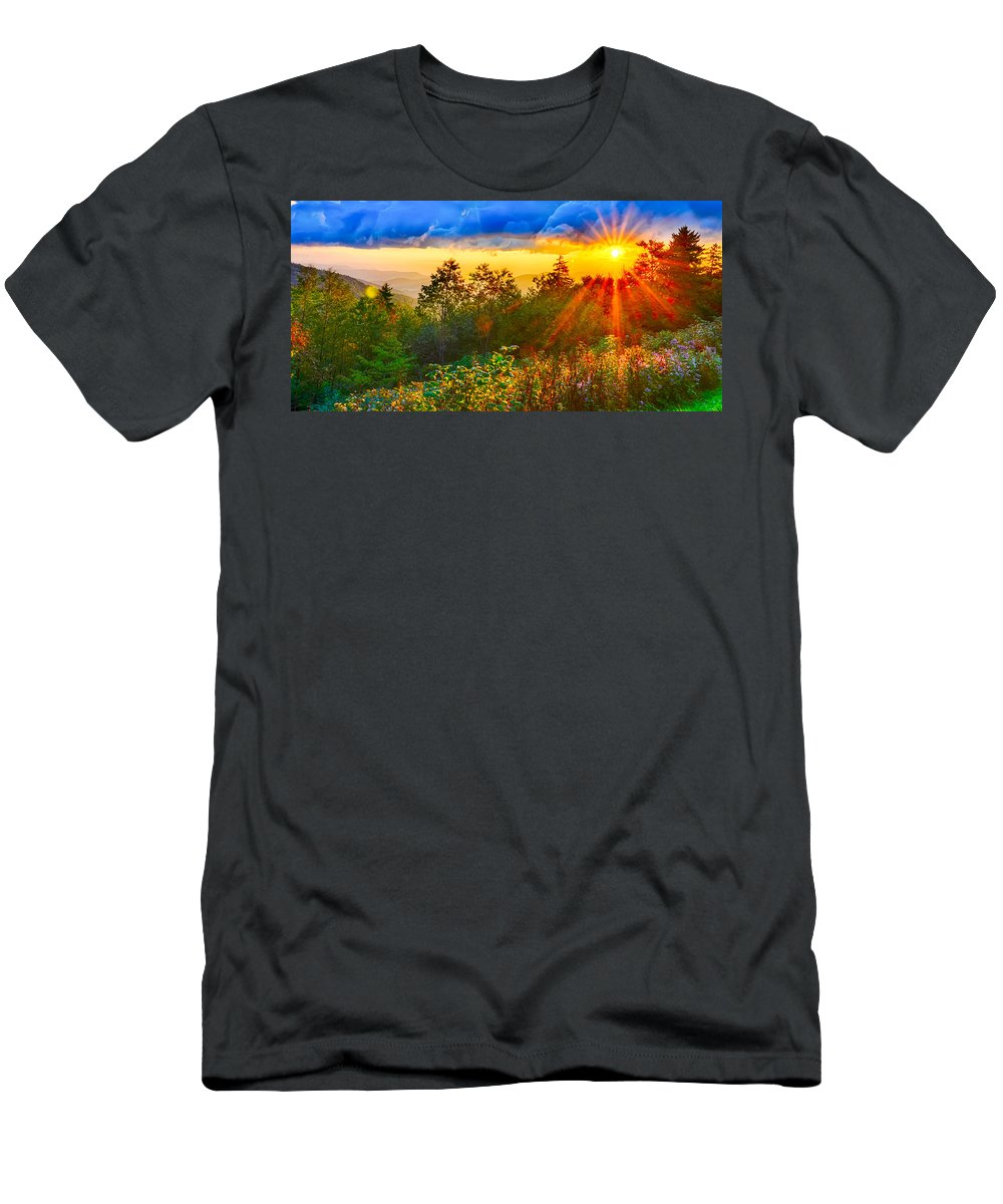Autumn Men's T-Shirt (Athletic Fit) featuring the photograph Blue Ridge Parkway Late Summer Appalachian Mountains Sunset West by Alex Grichenko