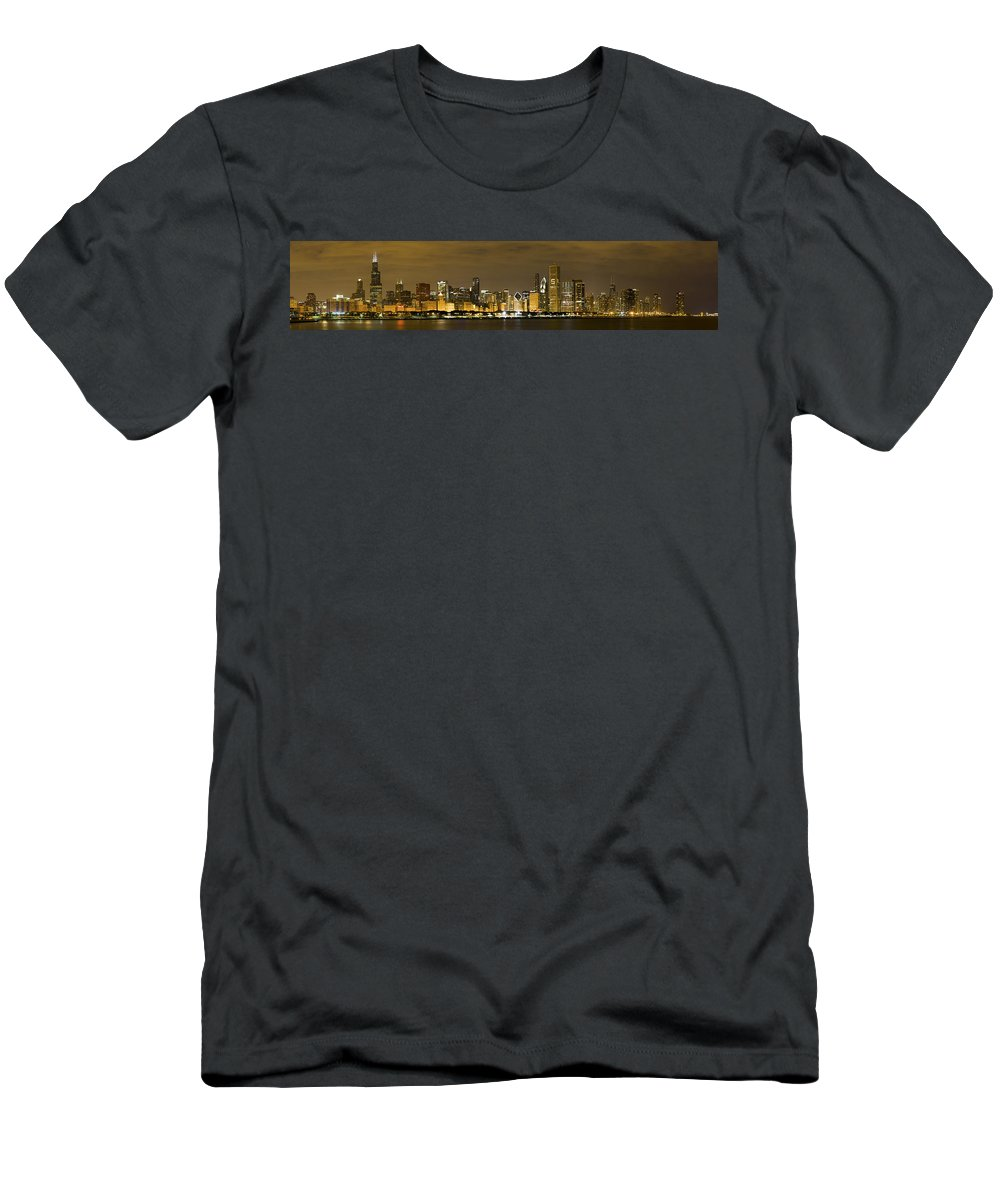 Chicago Skyline Men's T-Shirt (Athletic Fit) featuring the photograph Chicago Skyline At Night by Sebastian Musial