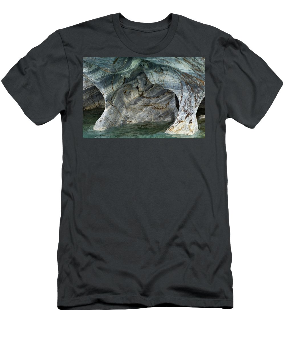 Catedral De Marmol Men's T-Shirt (Athletic Fit) featuring the photograph Eroded Marble Shoreline by John Shaw