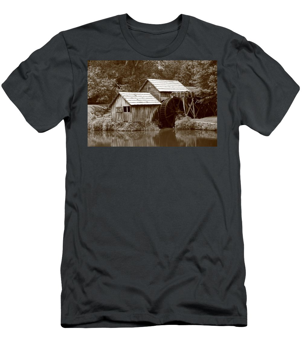 America Men's T-Shirt (Athletic Fit) featuring the photograph Mabry Mill - Blue Ridge Mountains by Frank Romeo
