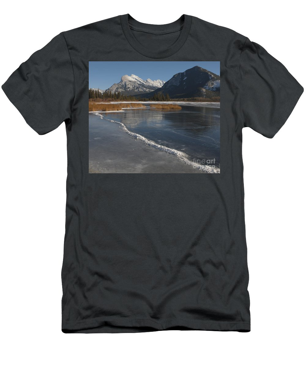Alberta Men's T-Shirt (Athletic Fit) featuring the photograph Mt. Rundle And Vermillion Lake by John Shaw