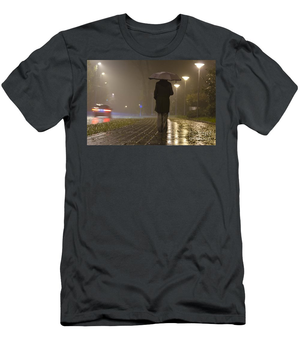 Woman Men's T-Shirt (Athletic Fit) featuring the photograph Woman With An Umbrella by Mats Silvan