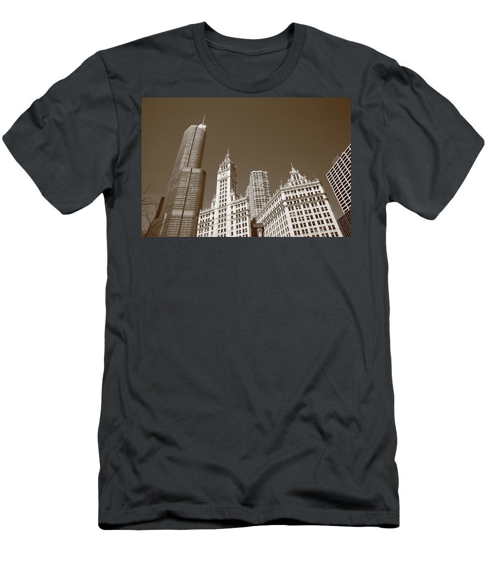 America Men's T-Shirt (Athletic Fit) featuring the photograph Chicago Skyline by Frank Romeo