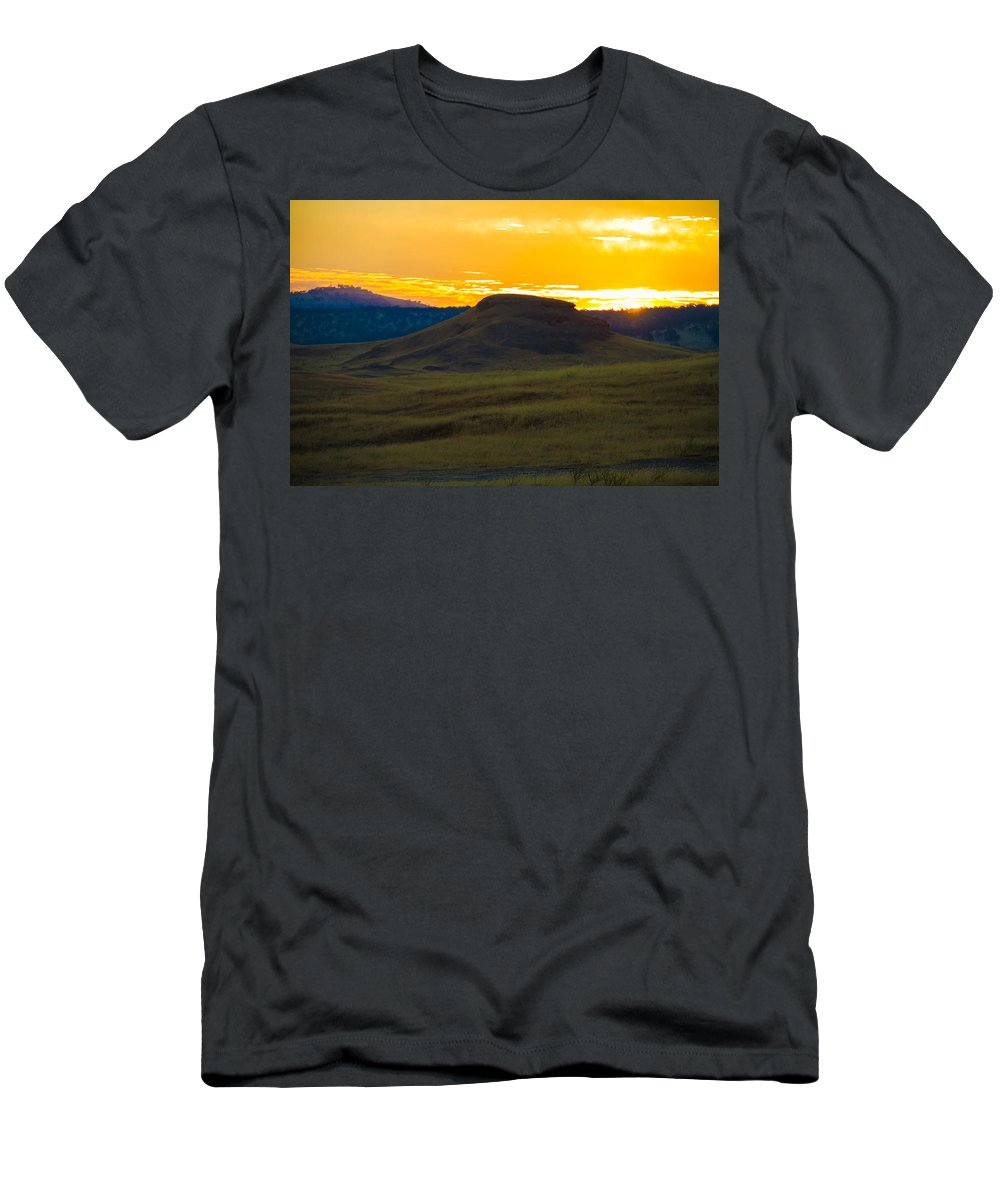 Sun Rise Outdoors History Nature Hills Mountains History All Prints Are Available In Prints Men's T-Shirt (Athletic Fit) featuring the photograph 430 Am Sun Rise by Brian Williamson