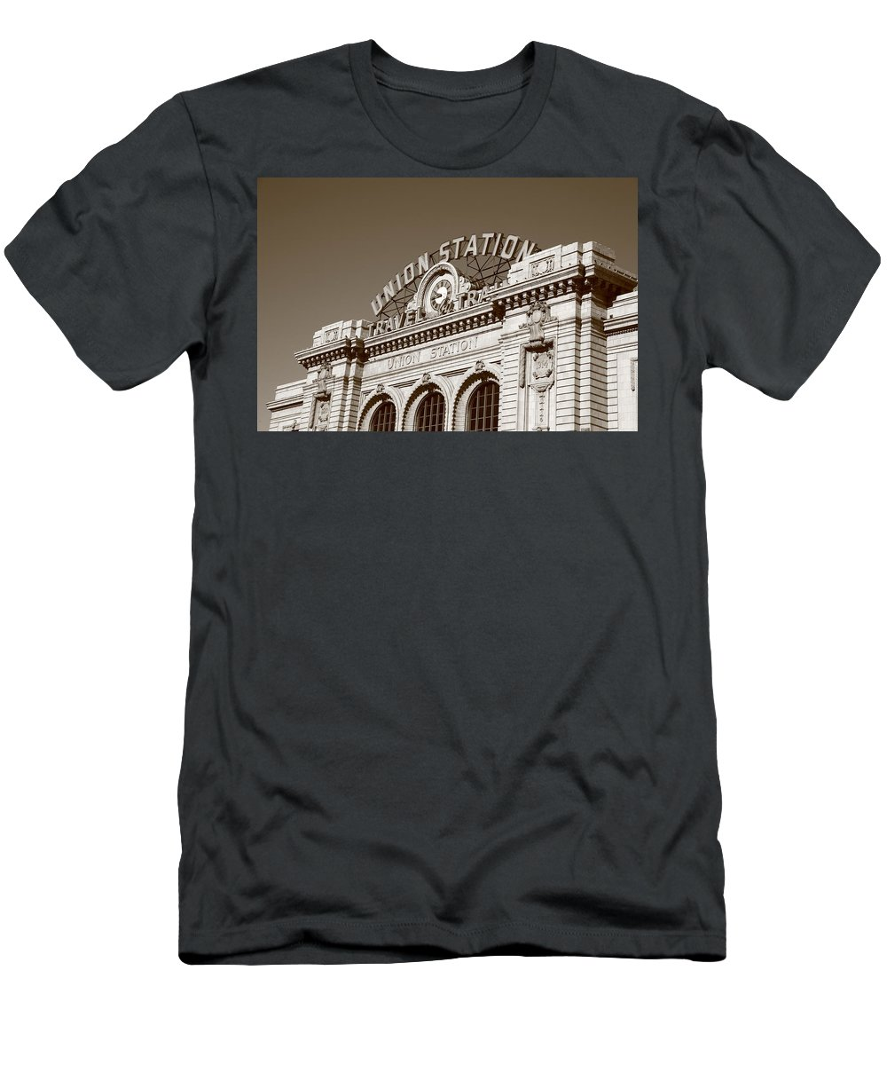 America Men's T-Shirt (Athletic Fit) featuring the photograph Denver - Union Station by Frank Romeo
