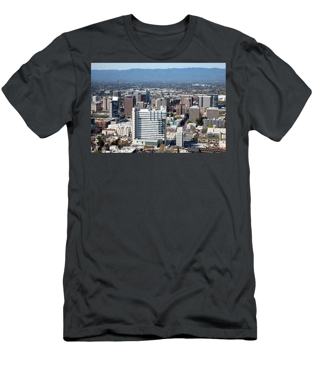 Aerial Men's T-Shirt (Athletic Fit) featuring the photograph Downtown San Jose California by Bill Cobb