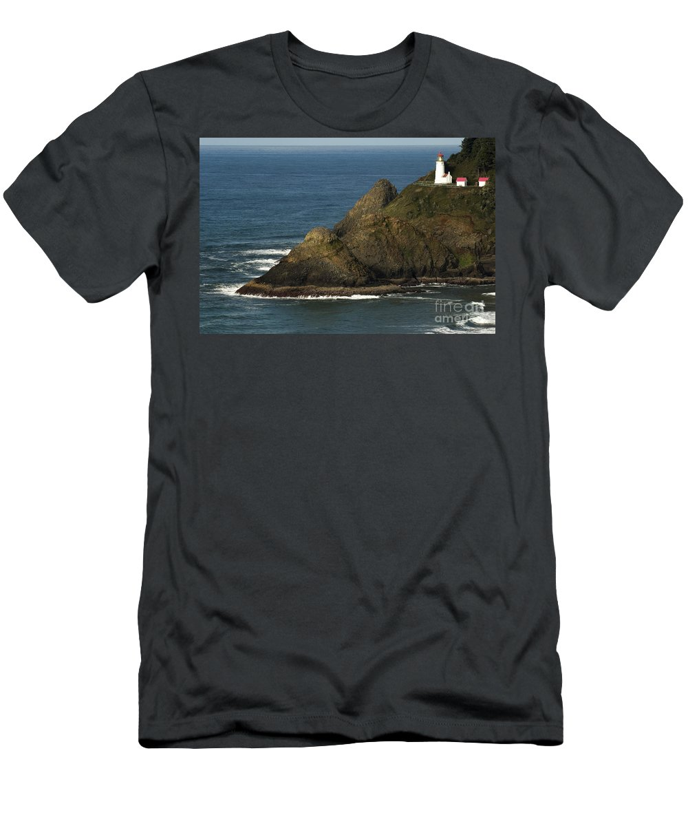 Heceta Head Lighthouse Men's T-Shirt (Athletic Fit) featuring the photograph Heceta Head Lighthouse by John Shaw