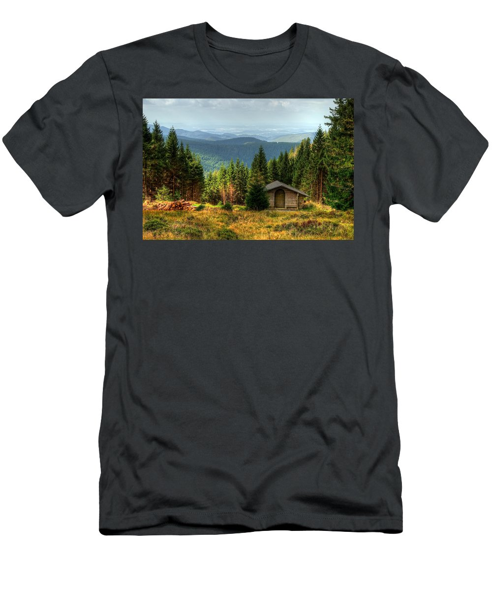 Wald Men's T-Shirt (Athletic Fit) featuring the pyrography Oberharz by Steffen Gierok