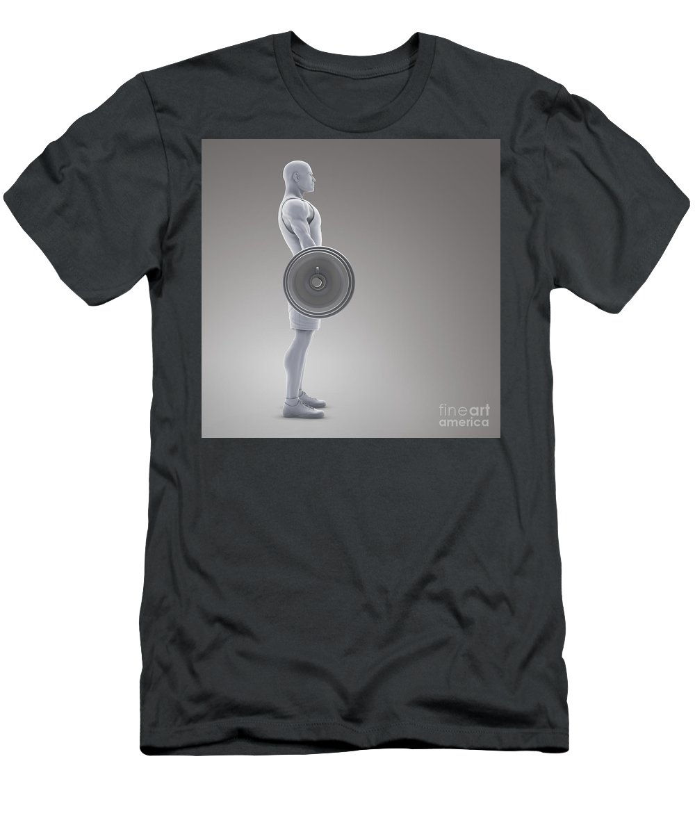 Human Body Men's T-Shirt (Athletic Fit) featuring the photograph Exercise Workout by Science Picture Co