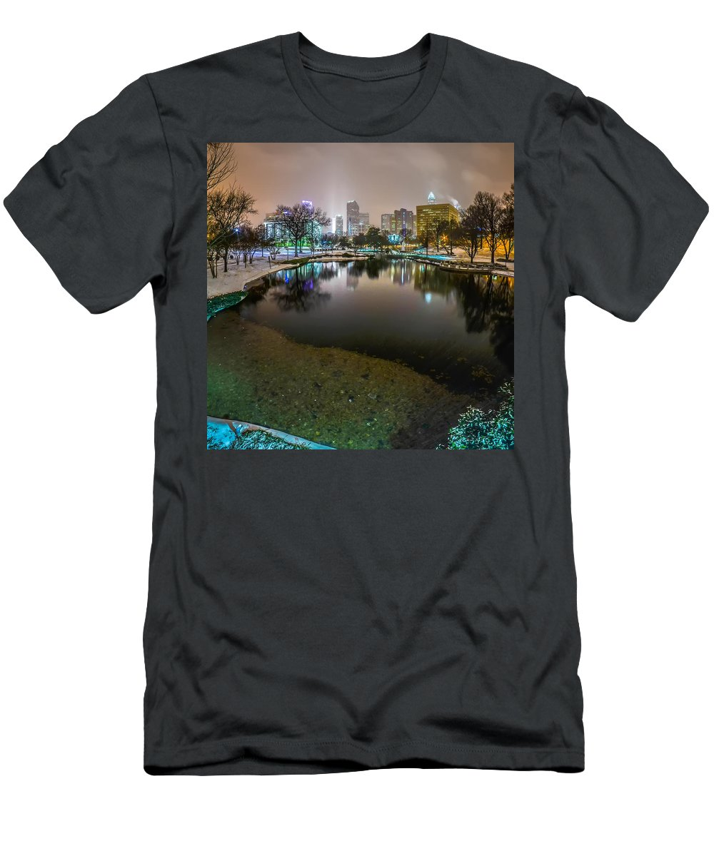 Charlotte Nc Men's T-Shirt (Athletic Fit) featuring the photograph Charlotte Nc Skyline Covered In Snow In January 2014 by Alex Grichenko