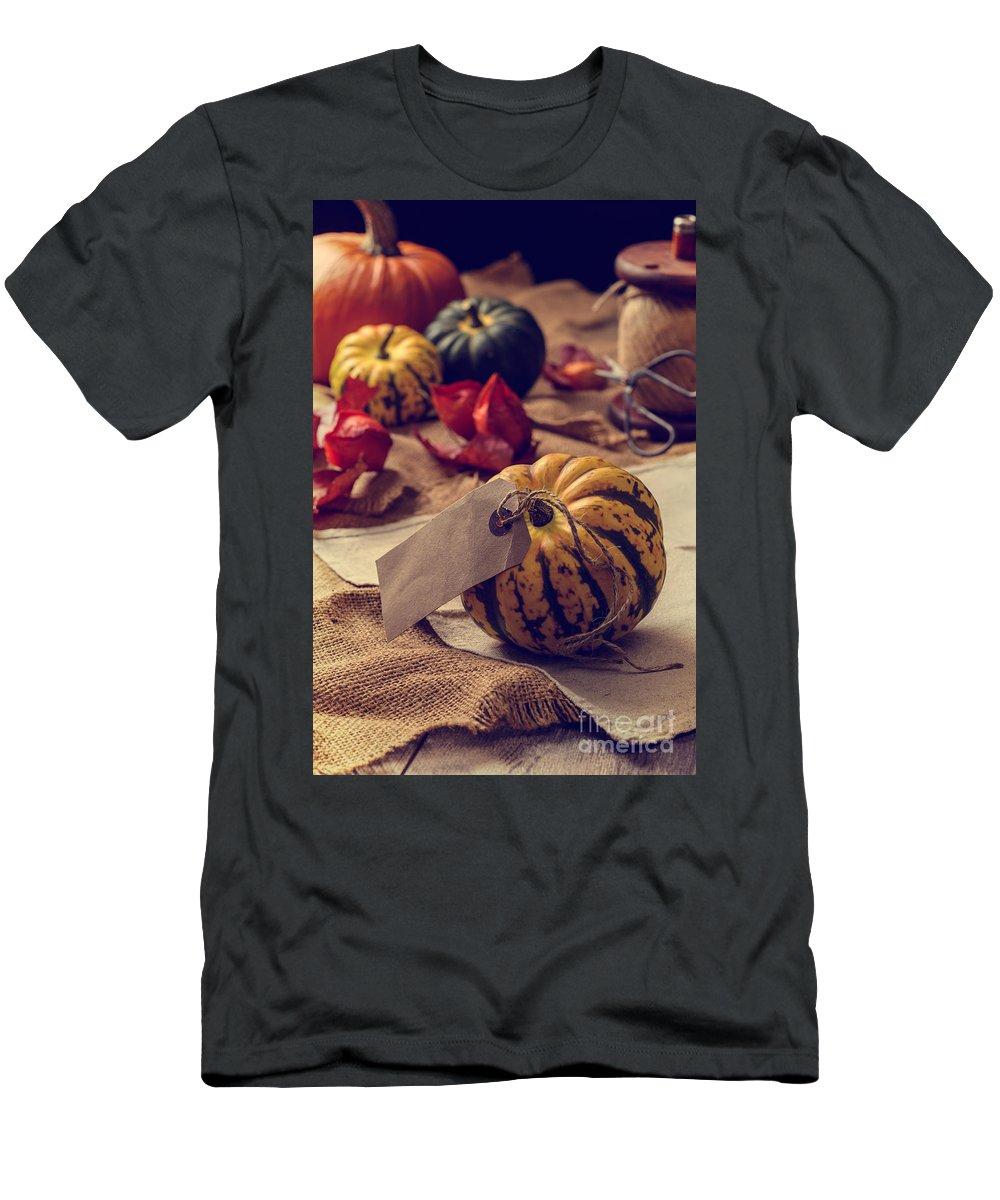 Pumpkin Men's T-Shirt (Athletic Fit) featuring the photograph Pumpkins by Amanda Elwell