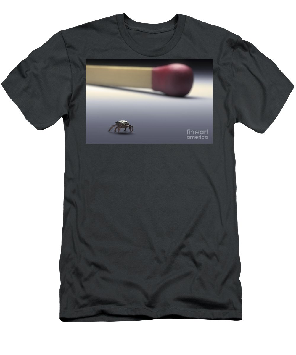 Digitally Generated Image Men's T-Shirt (Athletic Fit) featuring the photograph Scale Comparison Of A Tick by Science Picture Co