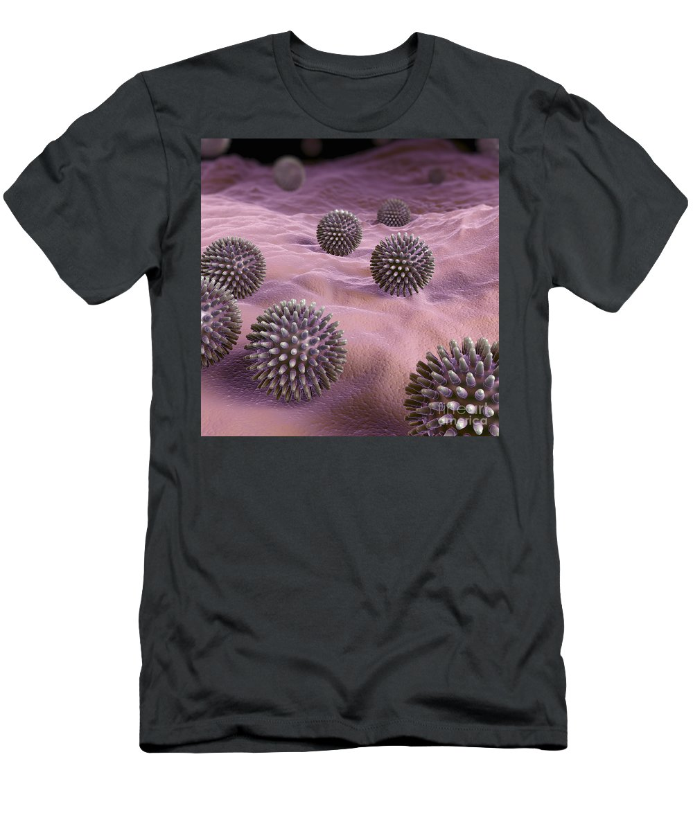 3d Visualisation Men's T-Shirt (Athletic Fit) featuring the photograph Swine Influenza Virus H1n1 by Science Picture Co
