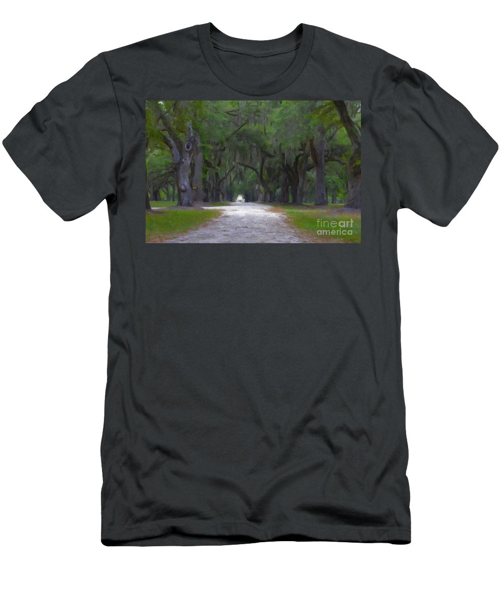 Allee Of Oaks Men's T-Shirt (Athletic Fit) featuring the digital art Allee Of Live Oak Tree's by Dale Powell
