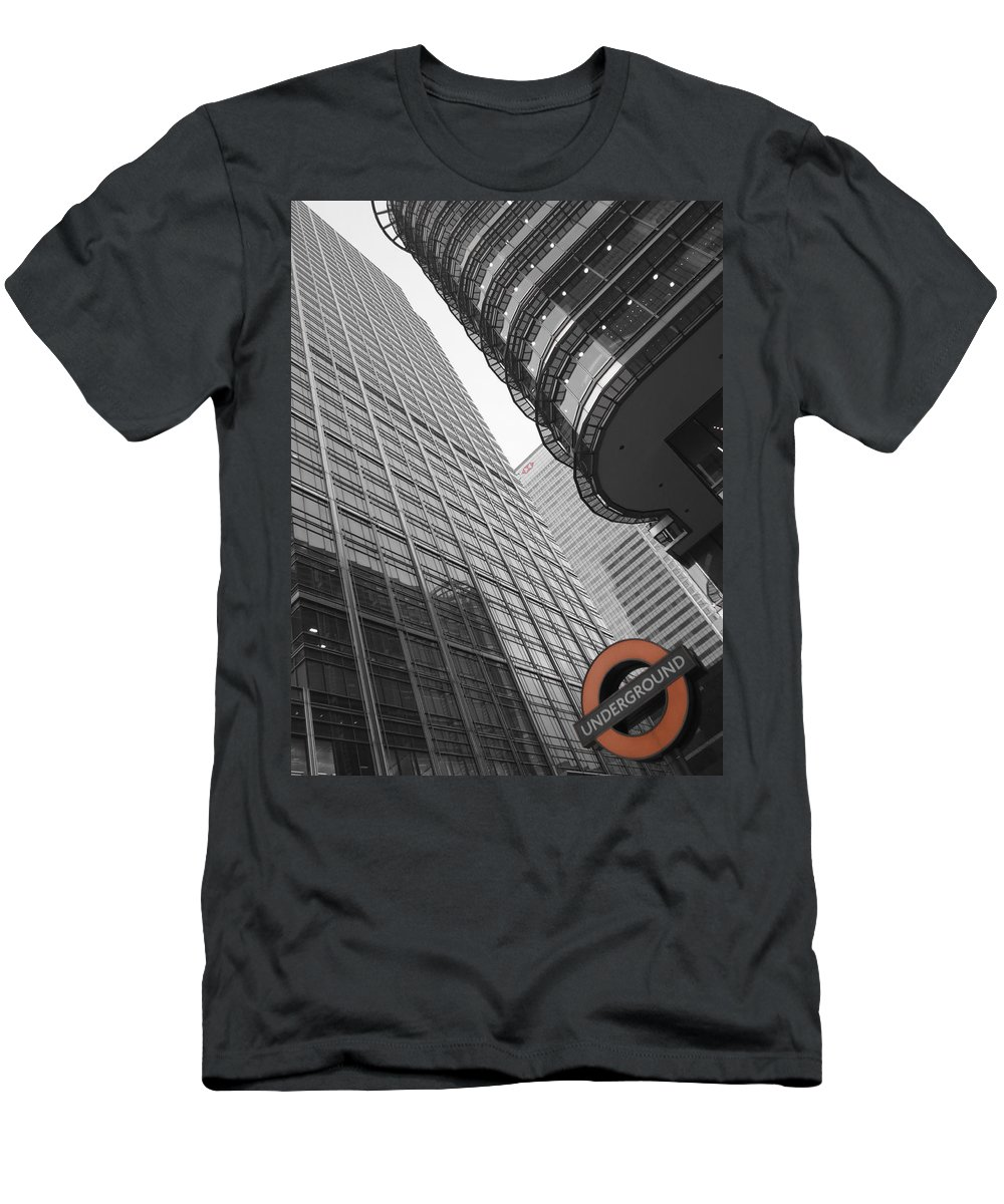 Abstract Men's T-Shirt (Athletic Fit) featuring the photograph Canary Wharf London by David Pyatt
