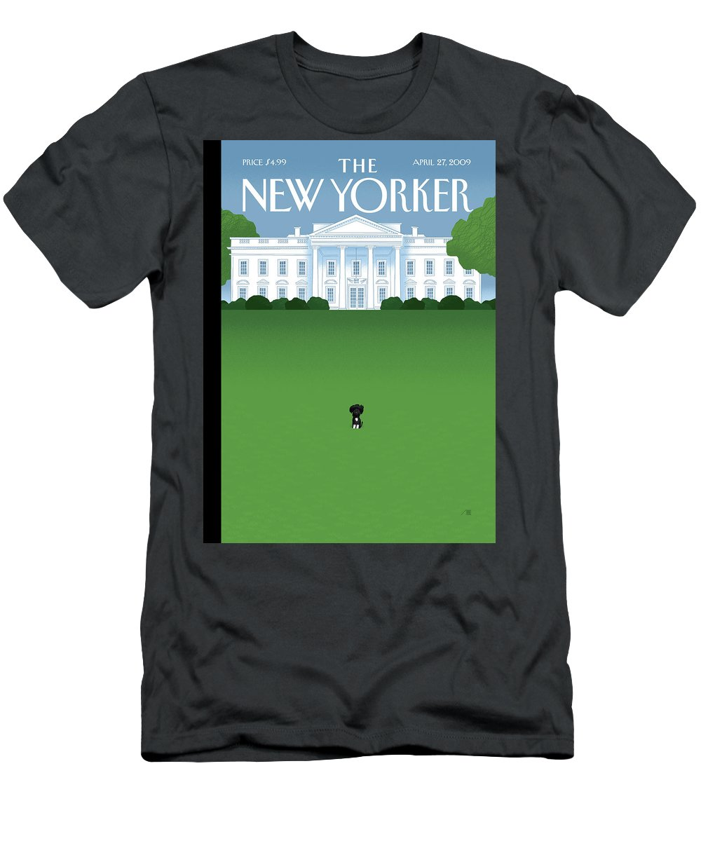 Obama Men's T-Shirt (Athletic Fit) featuring the painting New Yorker April 27th, 2009 by Bob Staake