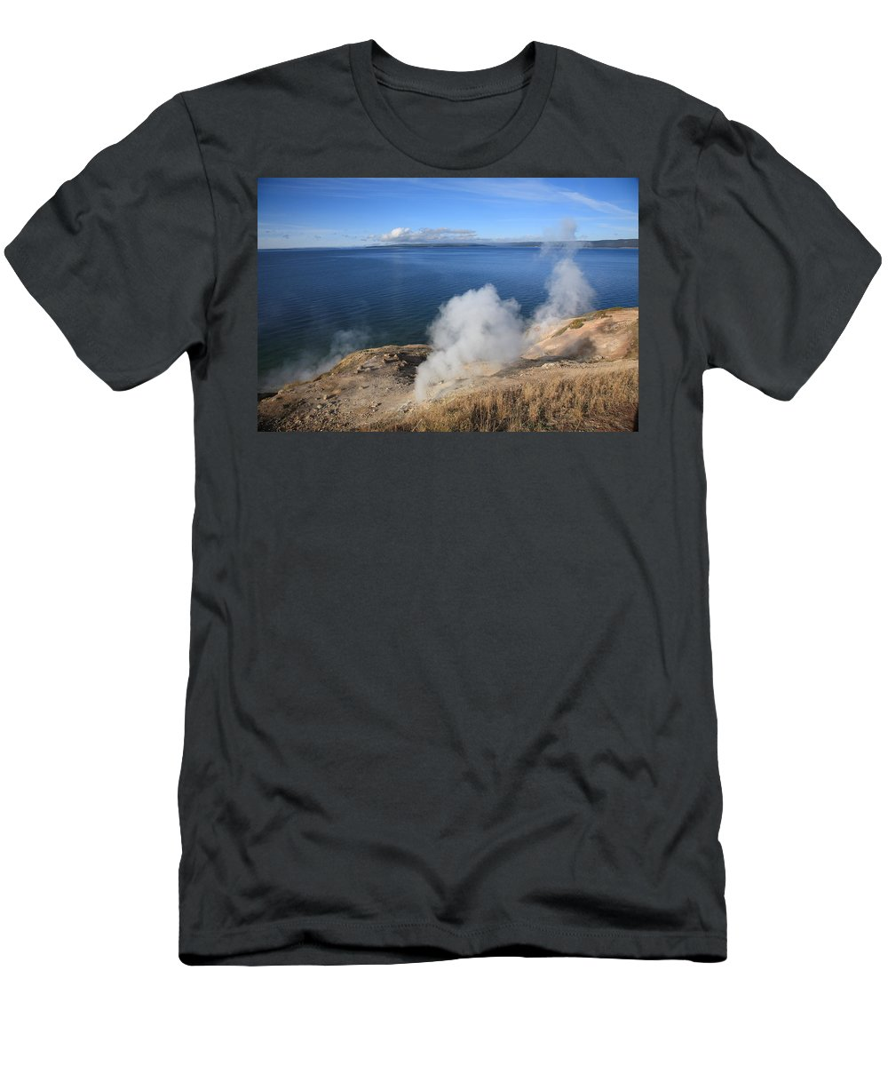 America Men's T-Shirt (Athletic Fit) featuring the photograph Yellowstone Lake And Geysers by Frank Romeo