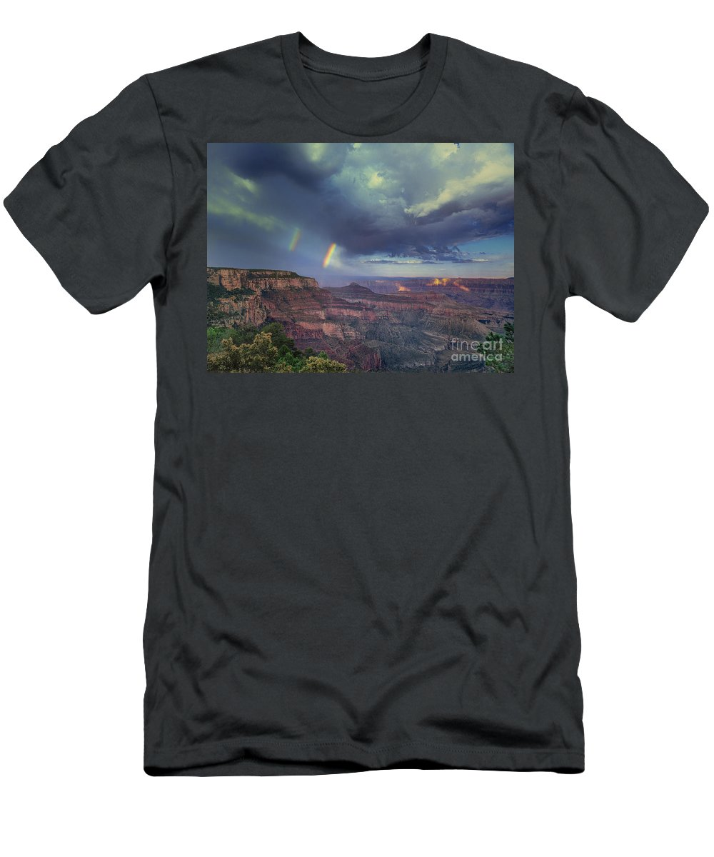 Dave Welling Men's T-Shirt (Athletic Fit) featuring the photograph 749220049 Double Rainbow Cape Royal North Rim Grand Canyon National Park by Dave Welling