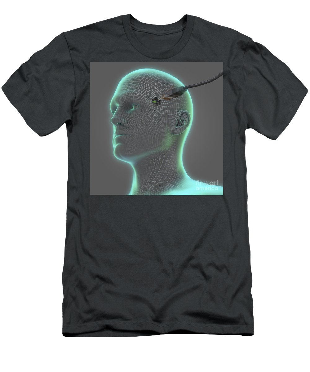 Artificial Intelligence Men's T-Shirt (Athletic Fit) featuring the photograph Digital Connection by Science Picture Co
