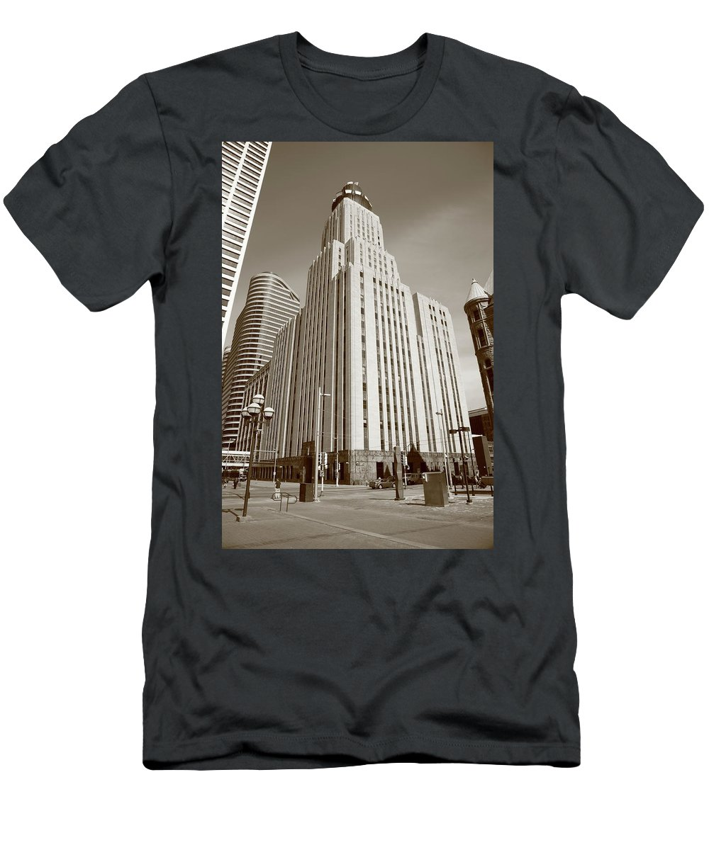 America Men's T-Shirt (Athletic Fit) featuring the photograph Minneapolis Skyscrapers by Frank Romeo