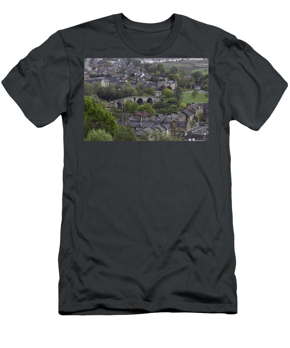 Bridge Men's T-Shirt (Athletic Fit) featuring the photograph Old Stirling Bridge And Houses As Visible From Stirling Castle by Ashish Agarwal