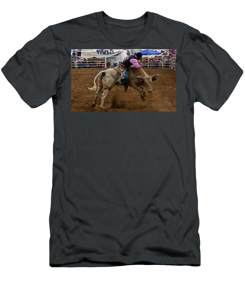 Rodeo Men's T-Shirt (Athletic Fit) featuring the photograph 8 Seconds In Sonoita by Patrick Moore