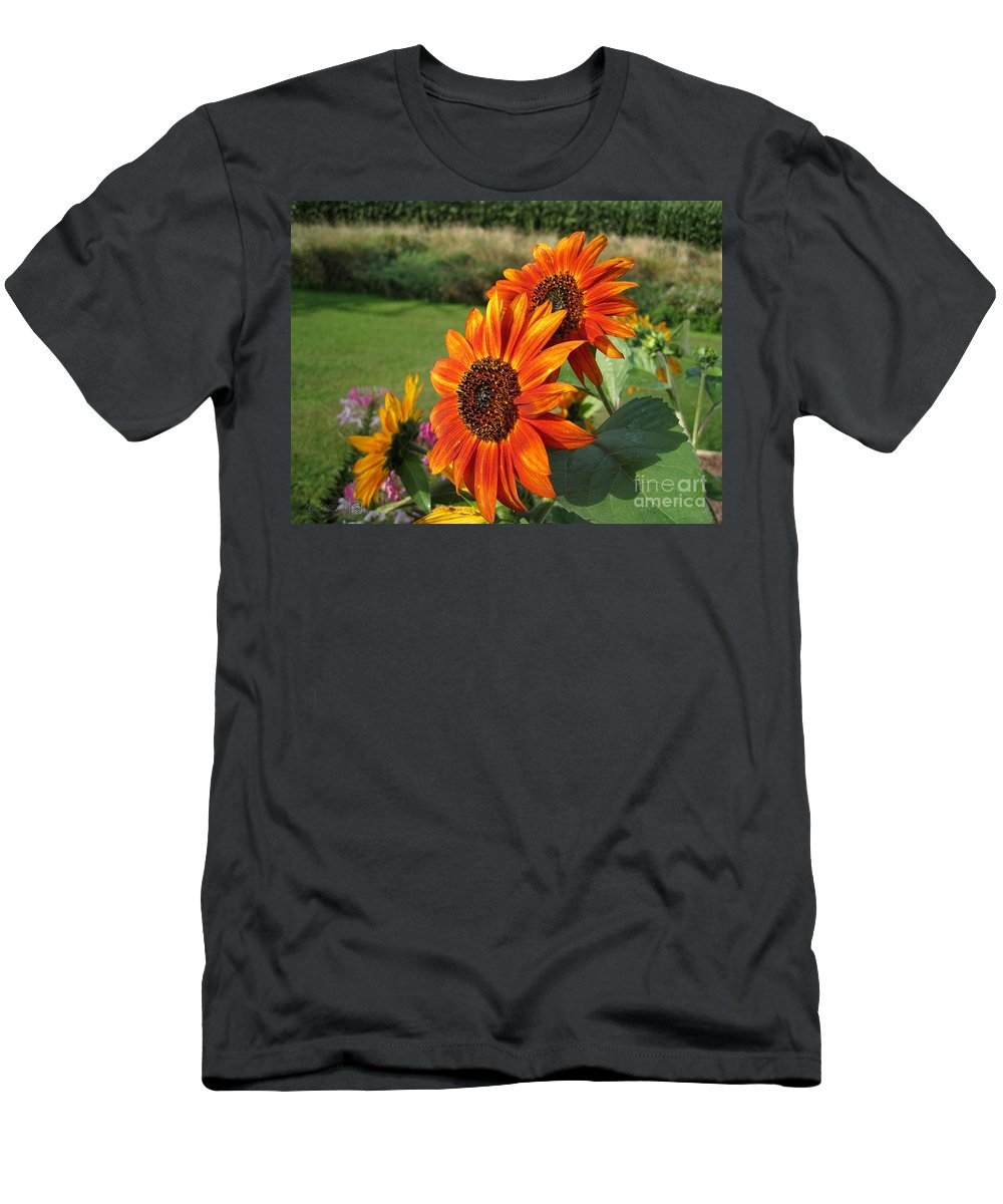 Mccombie Men's T-Shirt (Athletic Fit) featuring the photograph Sunflower From The Color Fashion Mix by J McCombie