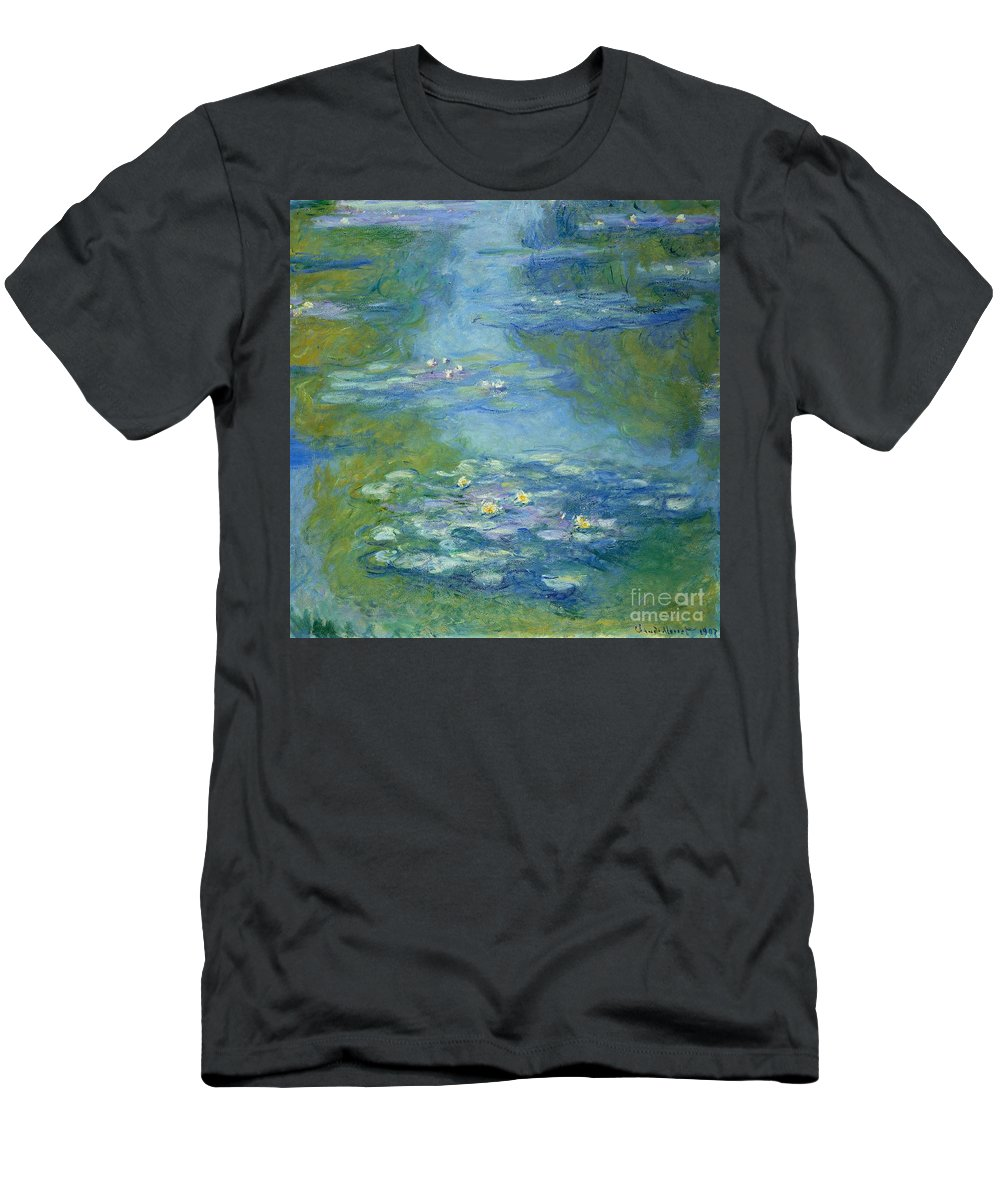 French T-Shirt featuring the painting Waterlilies by Claude Monet