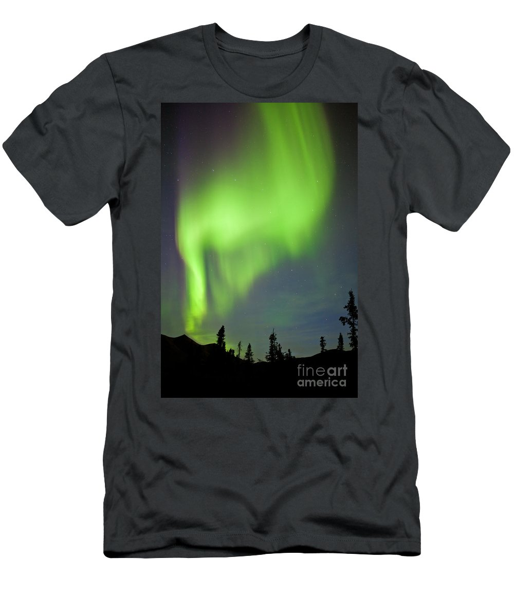 Alaska Men's T-Shirt (Athletic Fit) featuring the photograph Yukon Taiga Spruce Northern Lights Aurora Borealis by Stephan Pietzko