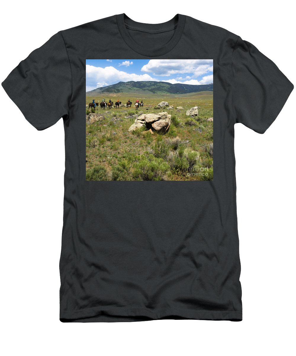 Montana Men's T-Shirt (Athletic Fit) featuring the photograph Rock Along The Trail by Tara Lynn