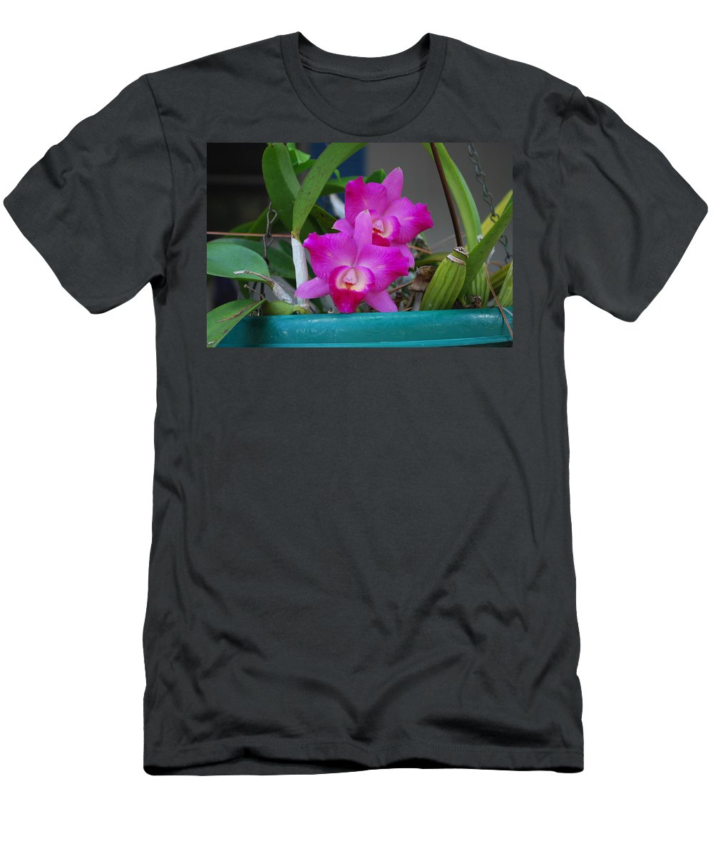 Growing On Patio Men's T-Shirt (Athletic Fit) featuring the photograph Orchid by Robert Floyd