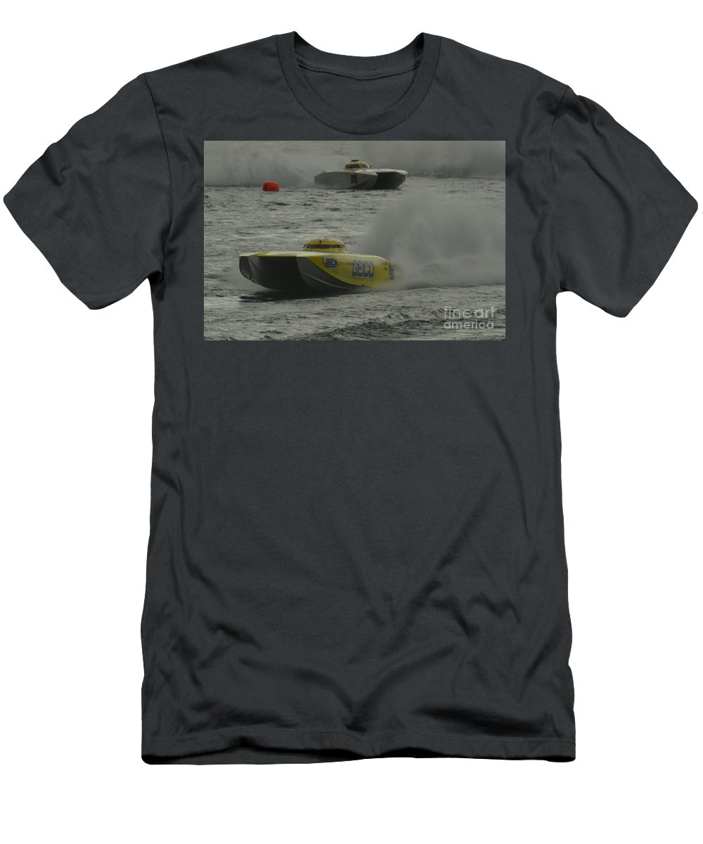Powerboat Men's T-Shirt (Athletic Fit) featuring the photograph Port Huron Sarnia International Offshore Powerboat Race by Randy J Heath