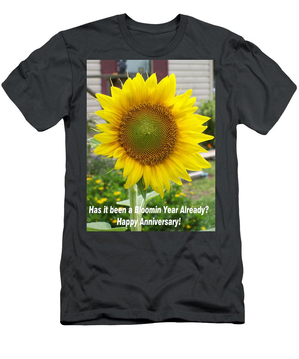 Business Card For Someone Celebrating An Anniversary With Giant Men's T-Shirt (Athletic Fit) featuring the photograph A Bloomin Year Already by Belinda Lee
