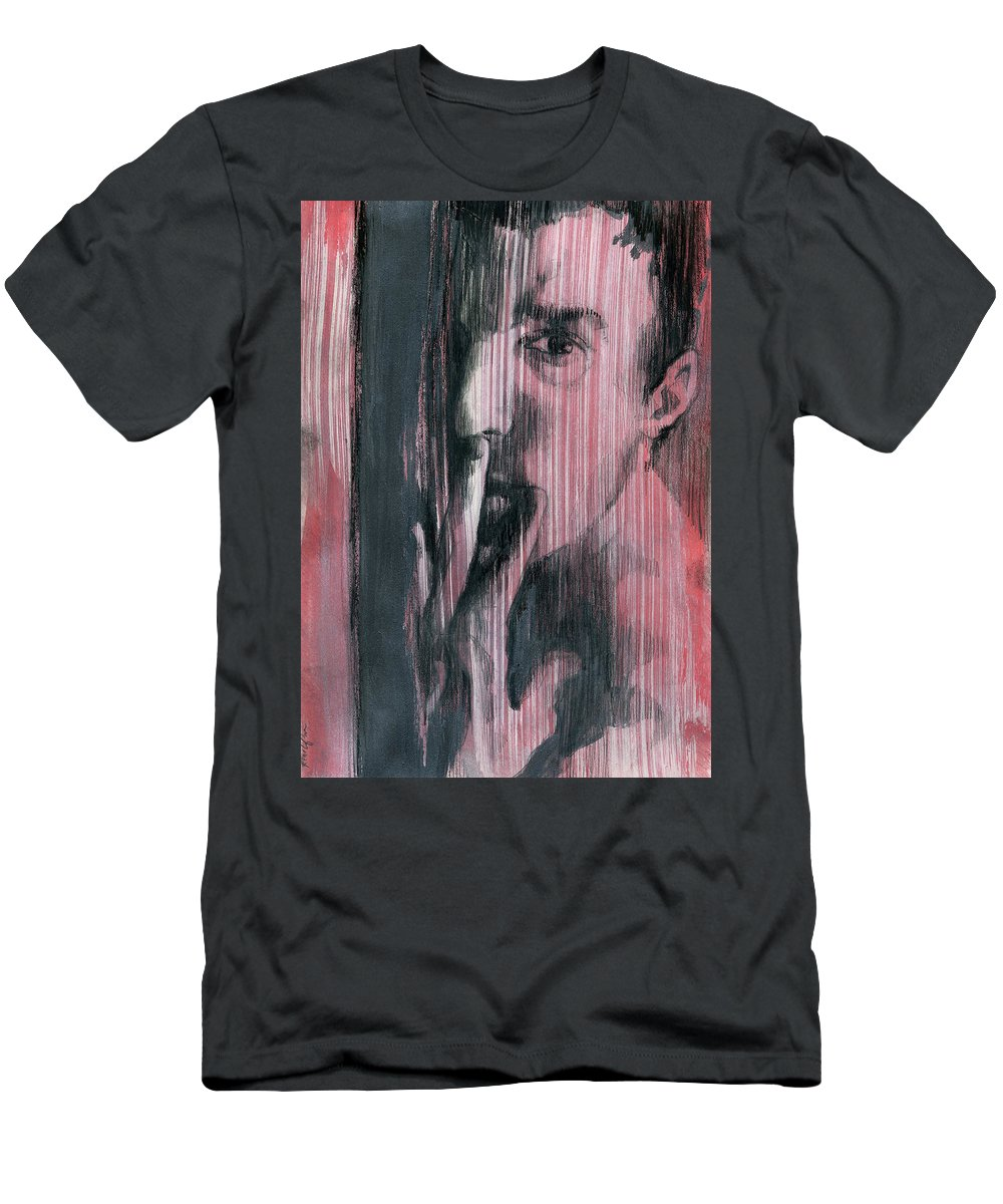 Gay Boy Men's T-Shirt (Athletic Fit) featuring the painting A Boy Named Silence by Rene Capone