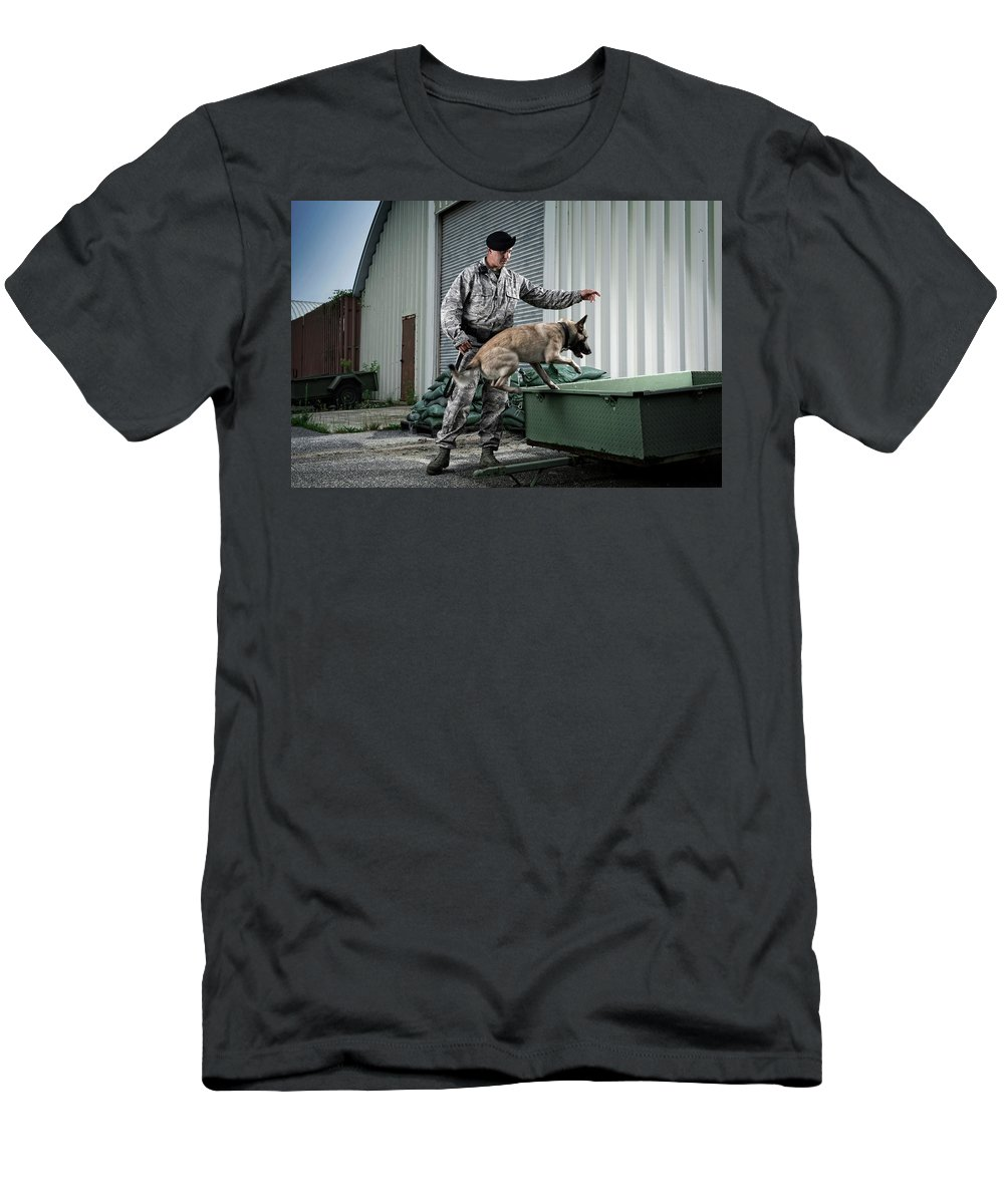 Air Force Men's T-Shirt (Athletic Fit) featuring the photograph A Caucasian, Male Air Force Security by Stacy Pearsall