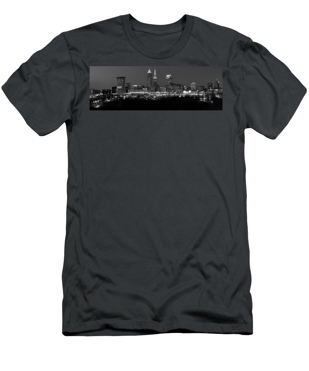 Abstract Men's T-Shirt (Athletic Fit) featuring the photograph A Cleveland Black And White Night by Frozen in Time Fine Art Photography