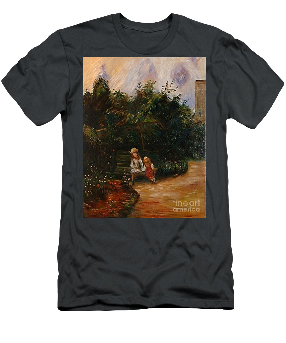 Classic Art T-Shirt featuring the painting A Corner of the Garden at the Hermitage by Silvana Abel