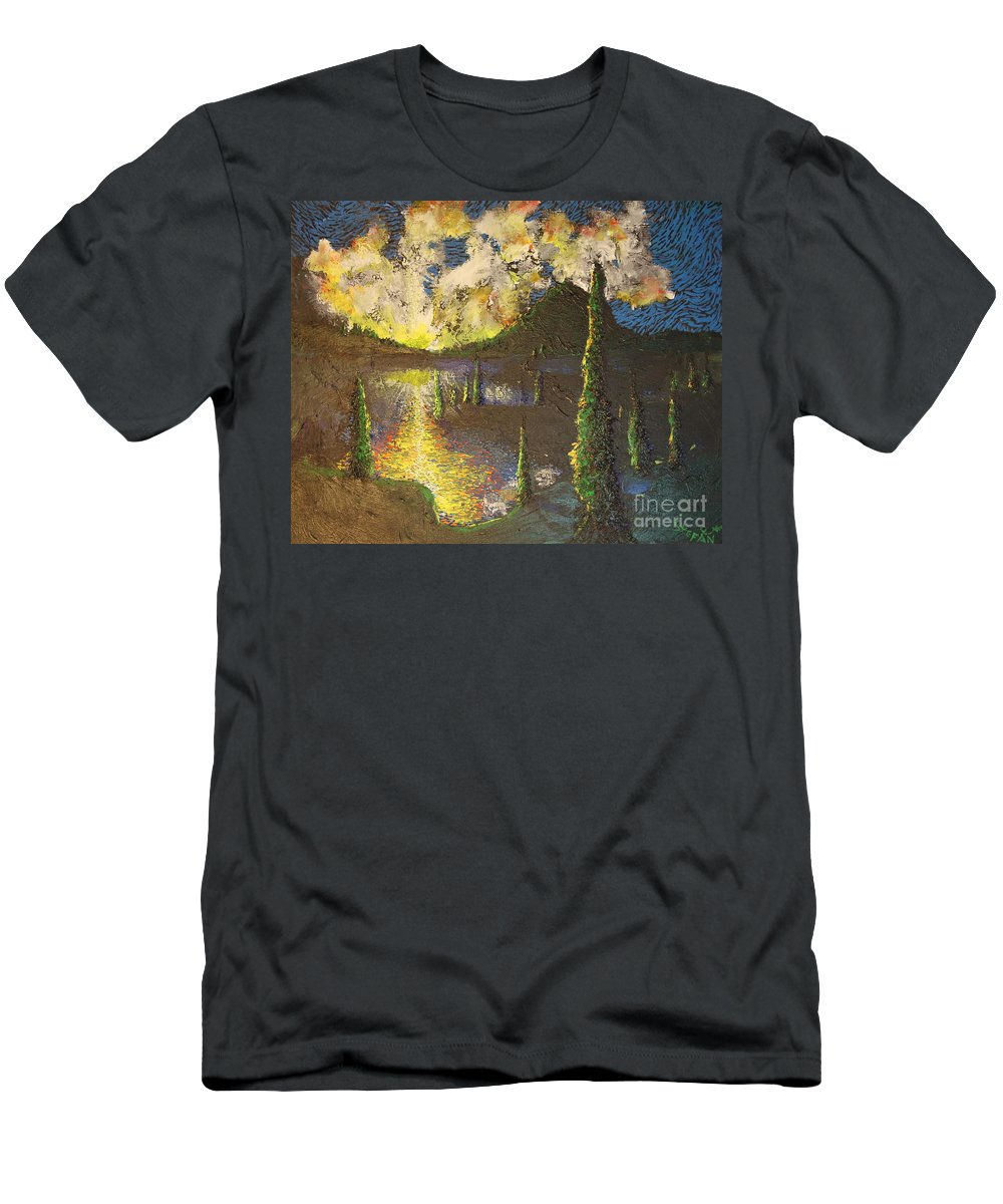 Landscape Men's T-Shirt (Athletic Fit) featuring the painting A Cypress Congregation by Stefan Duncan