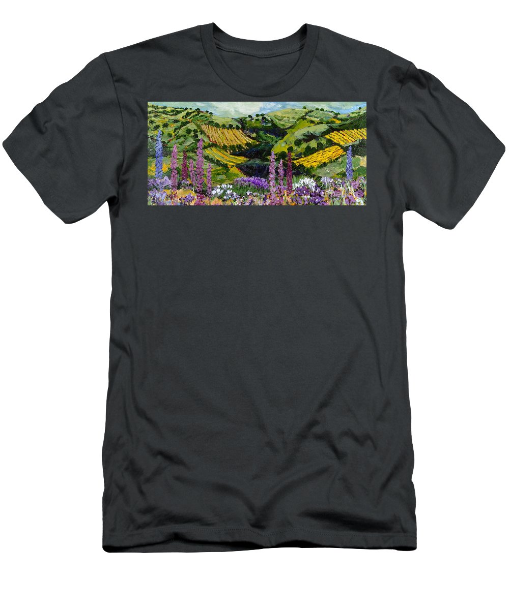 Landscape Men's T-Shirt (Athletic Fit) featuring the painting A Different Garden by Allan P Friedlander