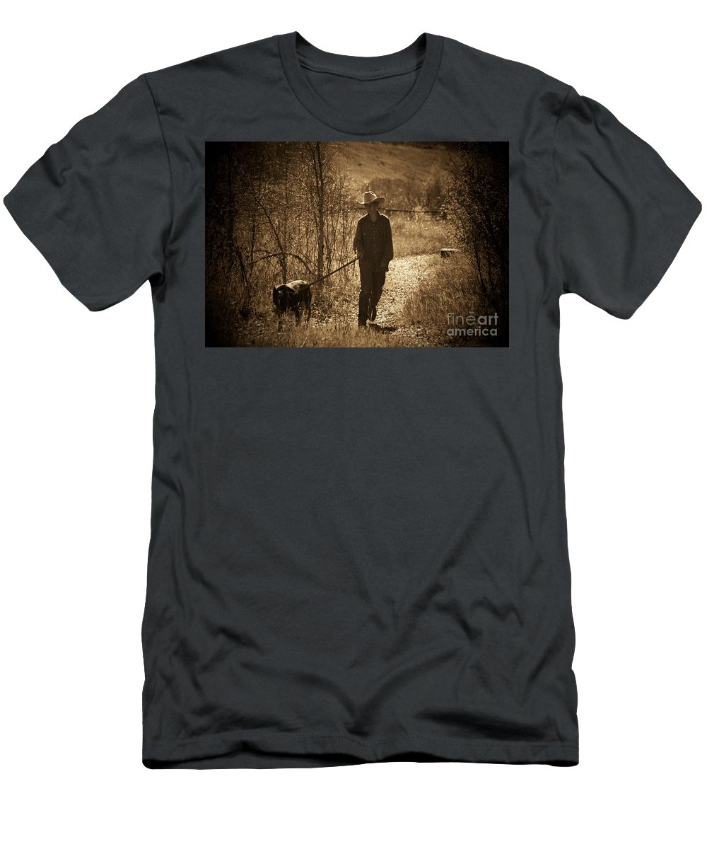 Dog Men's T-Shirt (Athletic Fit) featuring the photograph A Dog And His Boy by Brandi Maher