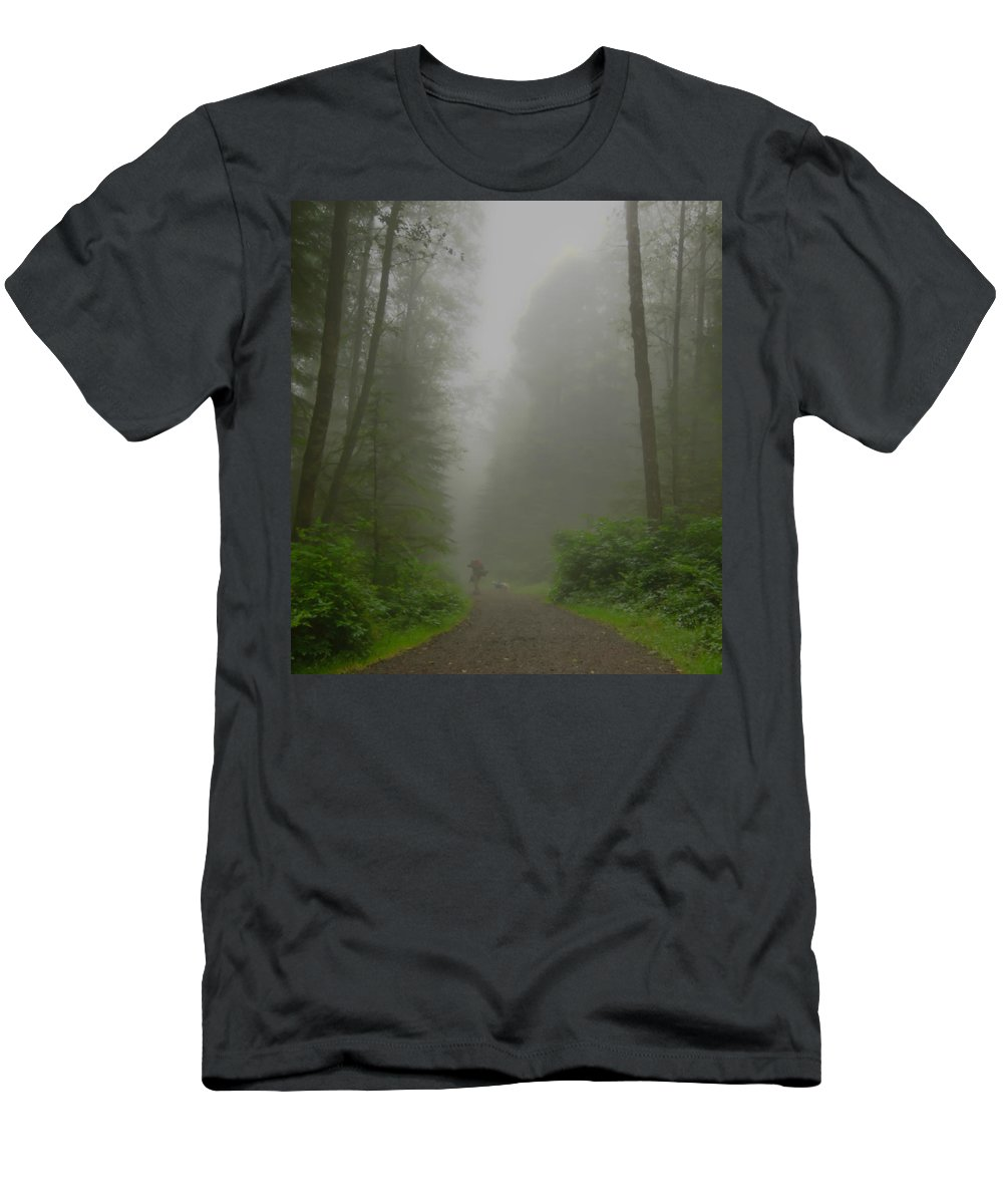 Oregon Coast Men's T-Shirt (Athletic Fit) featuring the photograph A Few Steps Into The Mist by Don Schwartz