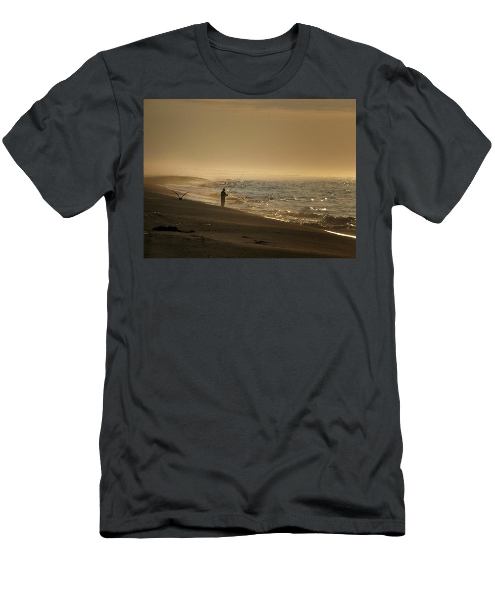 Beach Men's T-Shirt (Athletic Fit) featuring the photograph A Fisherman's Morning by GJ Blackman