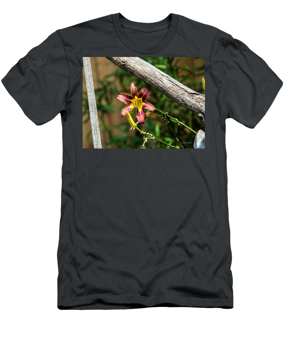 Heron Heaven Men's T-Shirt (Athletic Fit) featuring the photograph A Flower Frame by Edward Peterson
